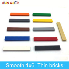 90 adet DIY yapı taşları Figure tuğla pürüzsüz 1x6 11 renkler eğitim yaratıcı boyutu lego ile uyumlu oyuncaklar çocuklar için