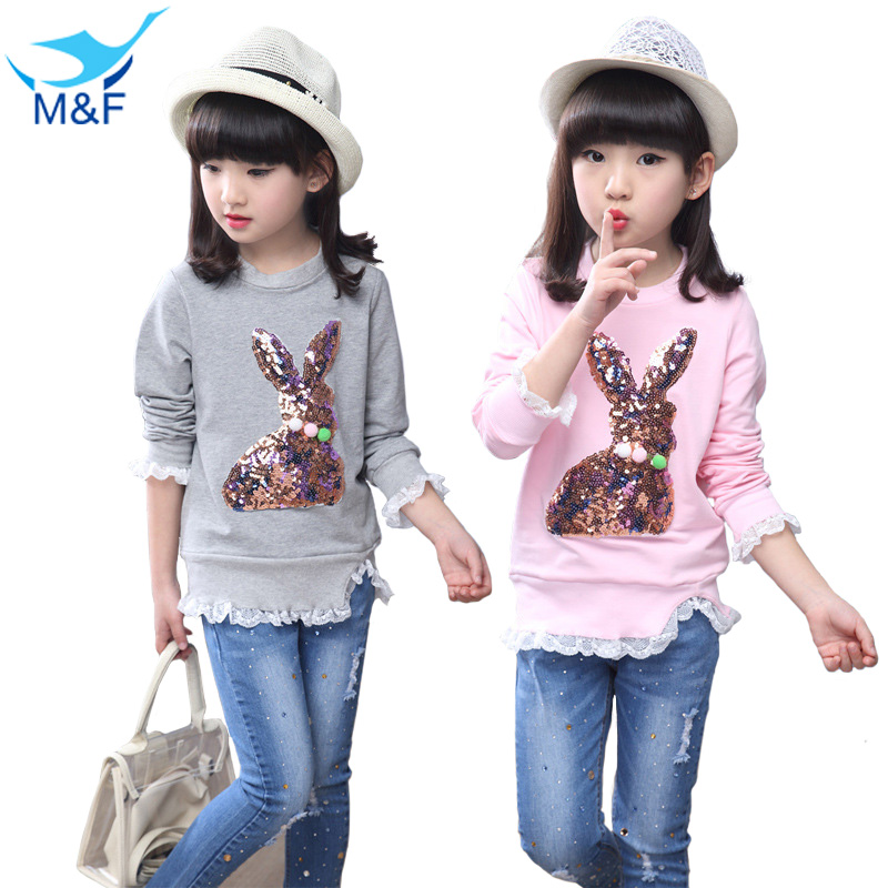 M&F New Arrival 5-14Y Baby Girls T-shirts Cute Cartoon Kids Long Tops & Tees Casual Girl Cotton Clothes Children's Clothing