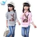 M & F New Chegada 5-14Y Meninas Do Bebê T-shirt Bonito Dos Desenhos Animados Crianças Longa Tops & T Roupa Da Menina do Algodão Ocasional roupas para crianças