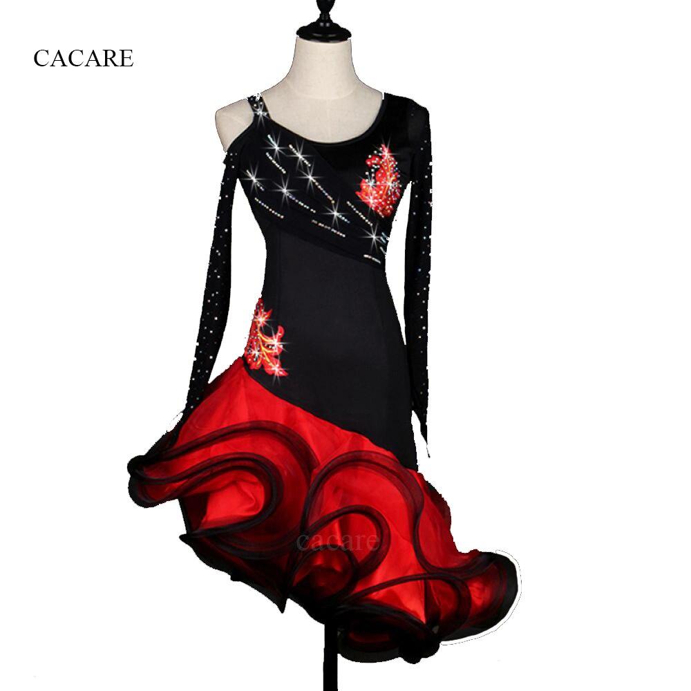 ラテンダンスドレス女性女の子大人の衣装サルサ標準ダンスドレスで輝くラインストーンの花ロングスリーブCAD297