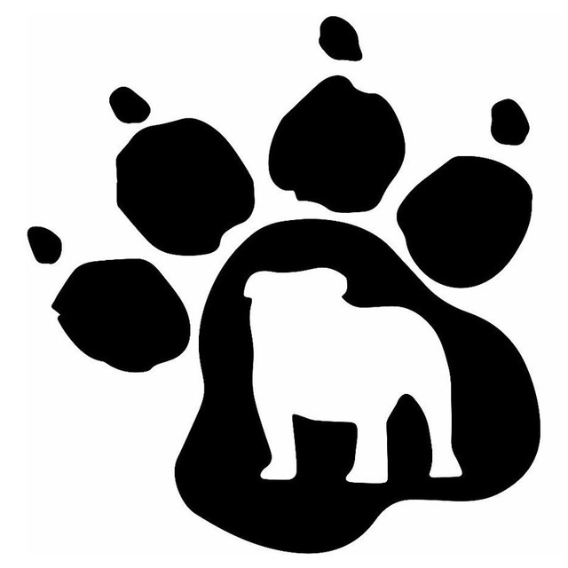 14 6 15 2cm bulldog paw print vinyl decal creative car stickers car rh aliexpress com free bulldog paw print clip art free bulldog paw print clip art