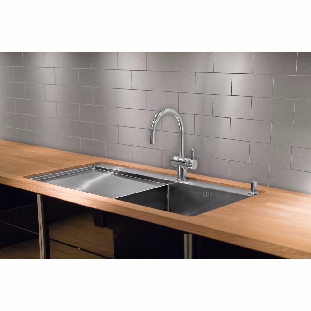 Peel and Stick Stainless Steel Backsplash Tiles 3\'\' x 6\'\' Brushed ...