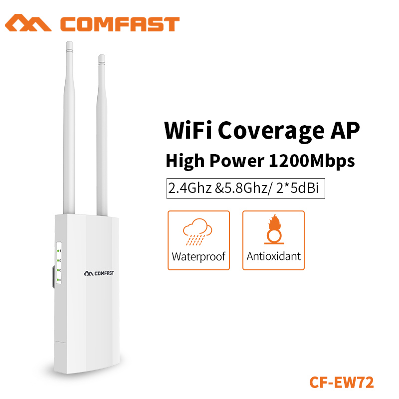 COMFAST 2.4+5.8Ghz WIFI Repeater Router Bridge WIFI Access Point 1200Mbps Outdoor High Power WIFI Coverage AP Router CF-EW72