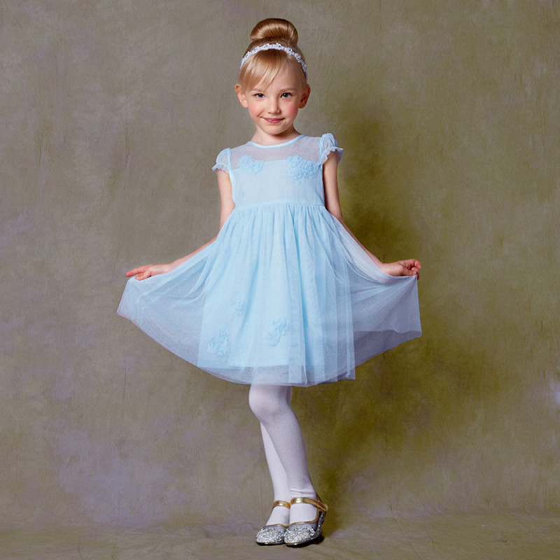 Children Kids Clothes Toddler Girls Fashion Brand Lace Flower Princess Dress Casual Chiffon Cotton Blue Mori Baby Dresses