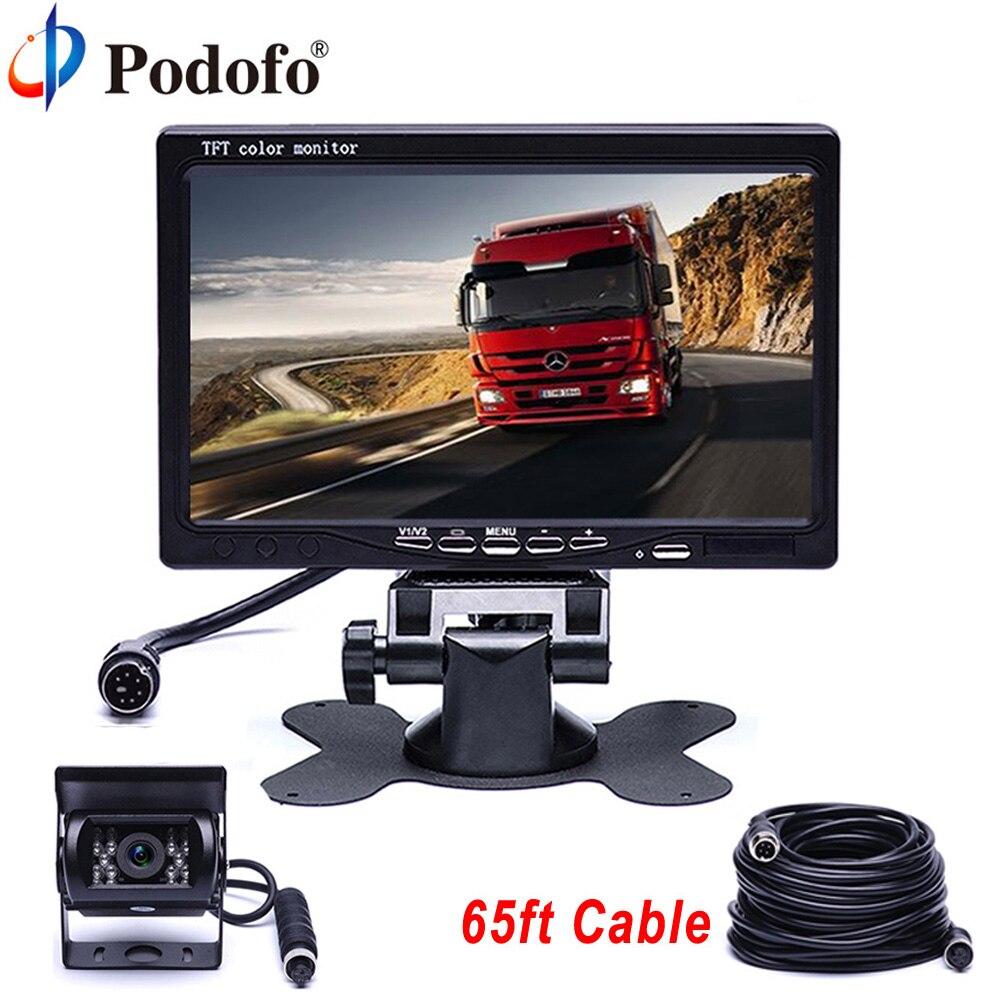 Podofo Vehicle Car Monitor IR LED Back up Reverse Camera 4-pin Connector + 7