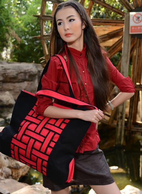 Fashion Handmade Knitted Strip Women Handbag Cotton Shoulder National Style Travel Party Girl Yunnan Brand Ethnic 2019 Hand Bag