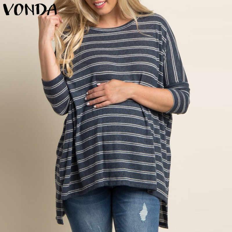 33ada3d1e771a VONDA Maternity Clothes 2018 Autumn Pregnant Women Cotton Striped Shirts  Casual Loose Blouse Batwing Sleeve Split