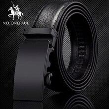 NO.ONEPAUL For Men Automatic Male Belts Cummerbunds Leather Belt dropshipping Black Genuine Luxury brand