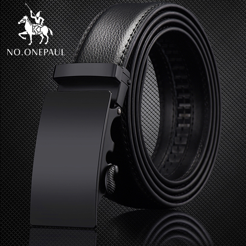 NO.ONEPAUL For Men Automatic Male   Belts   Cummerbunds Leather   Belt   Men dropshipping Black   Belts   Genuine Leather   Belts   Luxury brand