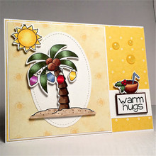 Gift Coconut Tree Santa Claus Metal Cutting Dies with Clear Stamps for Craft Scrapbooking Album Embossing New 2019 Card Making