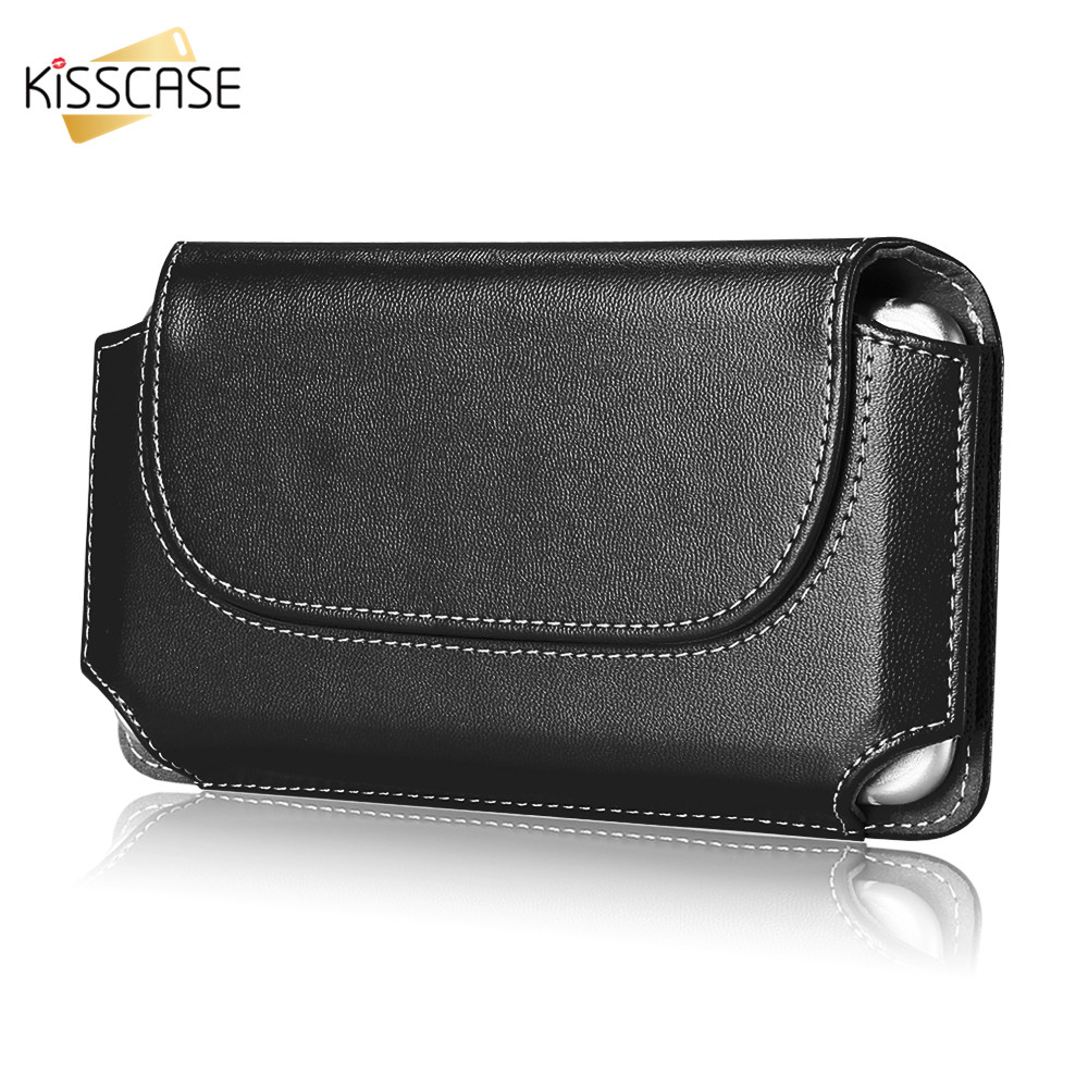 KISSCASE Mobile Belt Universal Case For iPhone 6 6S 7 8 X Coque Business Leather Phone Pouch Bag For iPhone 8 7 6 6s Plus Cases