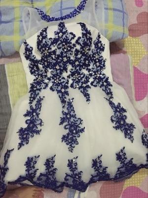 Robe de soiree 2019 κοντό Lace up κολάρο U μπλε & - Ειδικές φορέματα περίπτωσης - Φωτογραφία 6