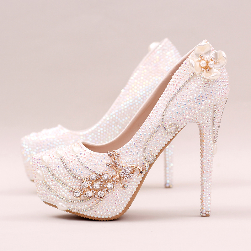 ФОТО Luxury Phoenix Diamond Wedding Shoes Bride Fashion Flower Crystal Dress Shoes Bride Shallow Super High Heel Pumps