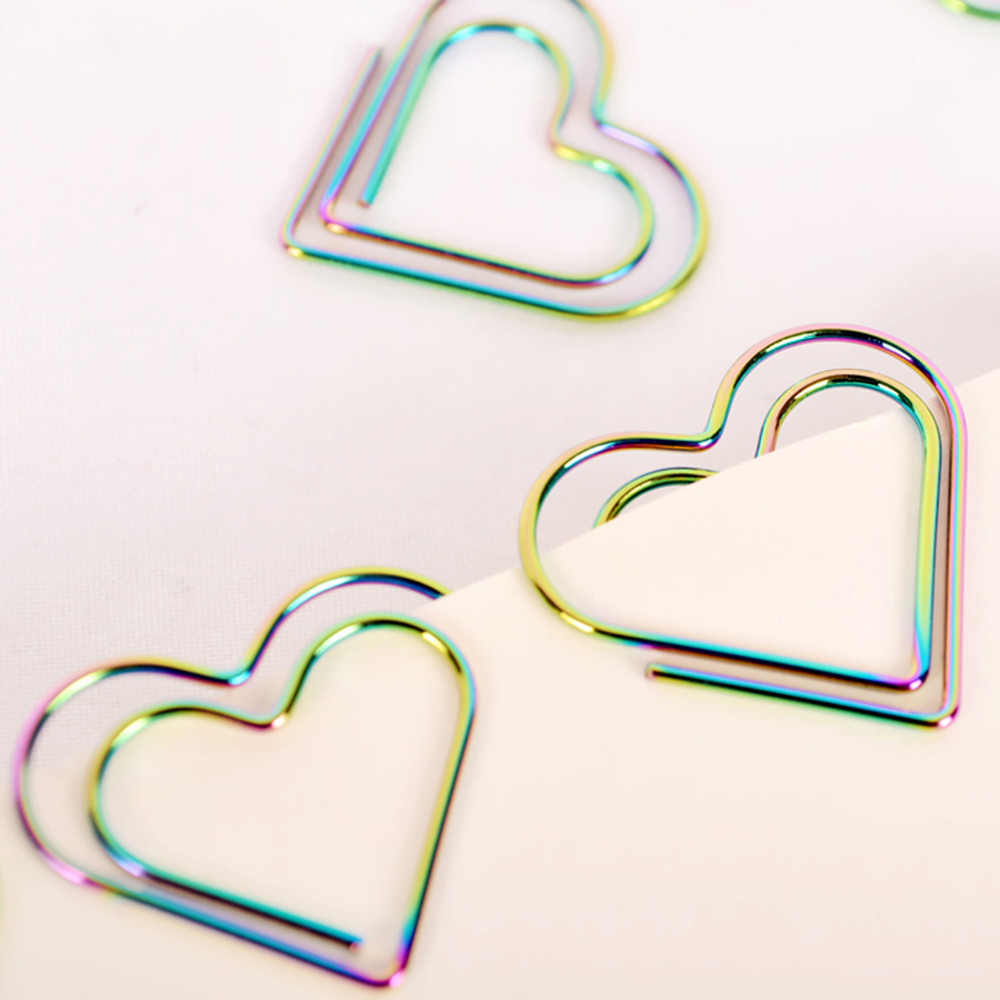 12Pcs/set Rainbow Heart Shaped Paper Clips Bookmark Planner Tools Scrapbooking Tools Memo Clip Metal Binder Paperclip