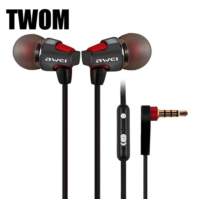 AWEI 860hi HiFi Stereo Metal Earphones with Microphone for a Mobile Phone Universal Wired Earbuds Subwoofer Headset Earpiece