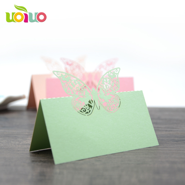 50pcs Butterfly Paper Vine Seat Cards Laser Cut Name Place Card