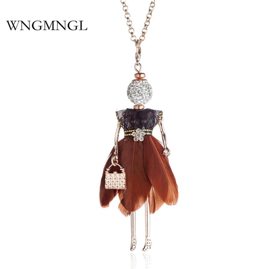 WNGMNGL Charm Feather Dress Handbag Crystal 8 Colors Doll Long Drop Necklace For Women Statement Fashion Jewelry Pendanties