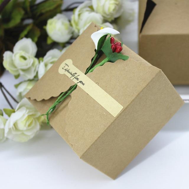 50 Teile Los 9 9 6 Cm Kraftpapier Box Mit Blumen Vintage Schokolade