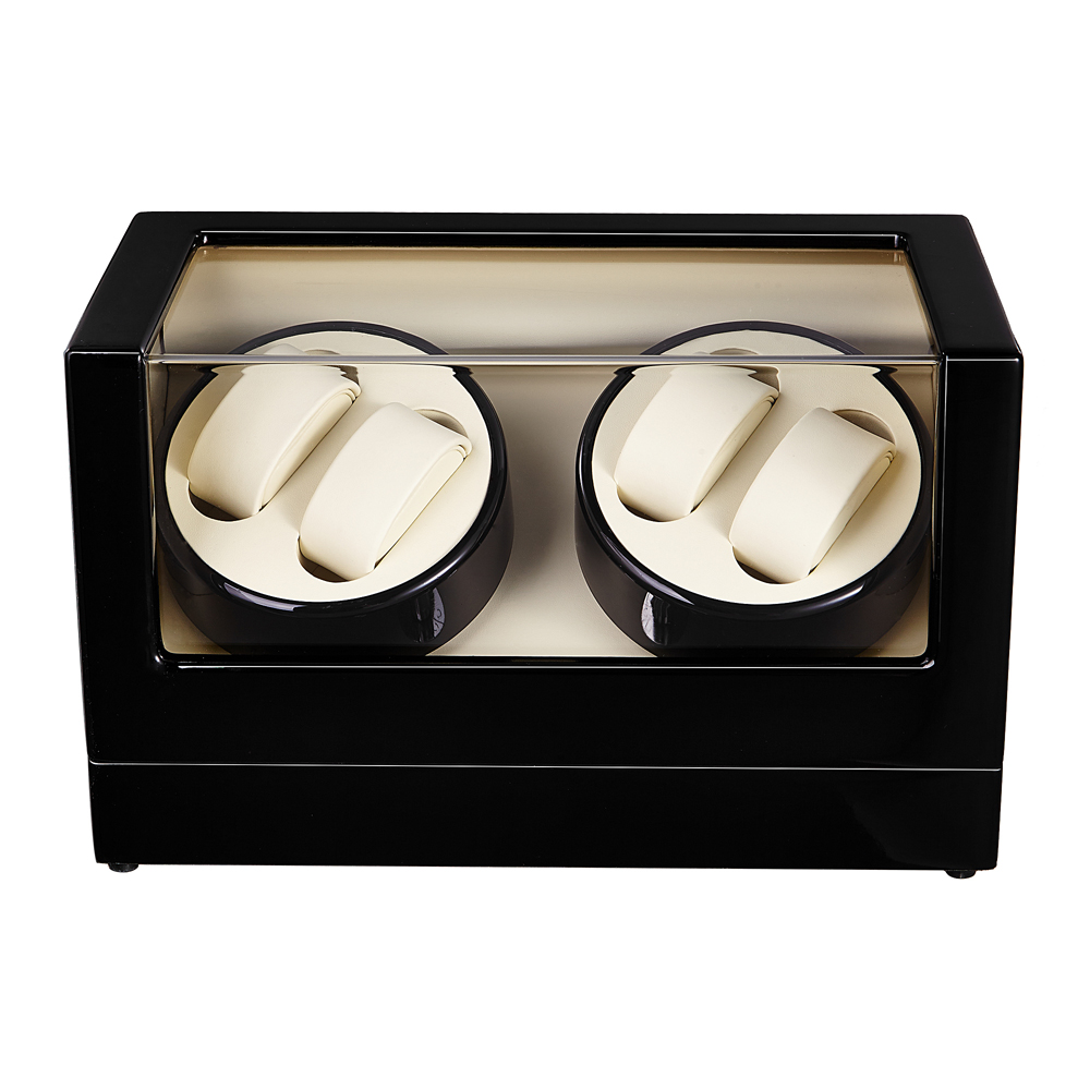 Watch Winder ,LT Wooden Automatic Rotation 4+0 Watch Winder Storage Case Display Box (black-white) ultra luxury 2 3 5 modes german motor watch winder white color wooden black pu leater inside automatic watch winder