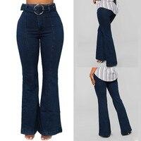 KLV 2019 Women's Jeans Cotton Stretch Loose Zip Pocket Button Casual High Waist Flare Pants Jeans Women's Trousers 4.24