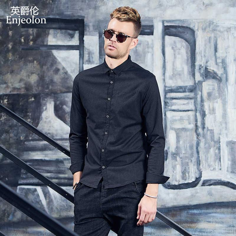 Enjeolon брендовые хлопковые рубашки мужские черные однотонные рубашки мужские 3XL карманные Рубашки с длинным рукавом карманные рубашки для мужчин CX2519-1