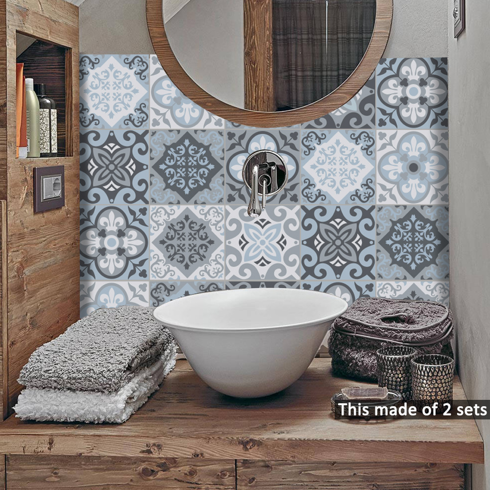 Image 4 - Funlife Moroccan Blue Tiles Wall Sticker,Self Adhesive Tile Decal for Kitchen Decoration DIY Waterproof Furniture Bathroom DecorWall Stickers   -