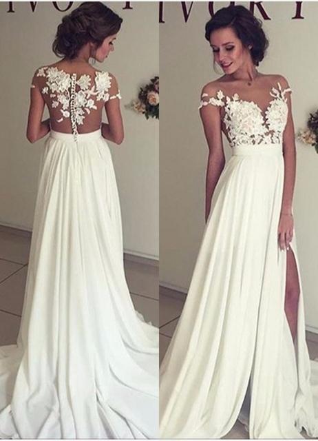 Sexy sheer vestido de noite do pescoço da colher da luva do tampão a line vestidos especiais da ocasião marfim chiffon apliques plus size vestido de noite