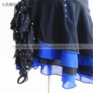 Image 5 - Robe de patinage artistique, manches longues, robe de patinage sur glace pour femmes, en Spandex noir, extensible, paillettes
