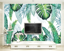 Beibehang Custom Wallpaper Modern Simple Hand Painted Tropical Plant Leaves TV Background Wall Murals 3d wallpaper for walls