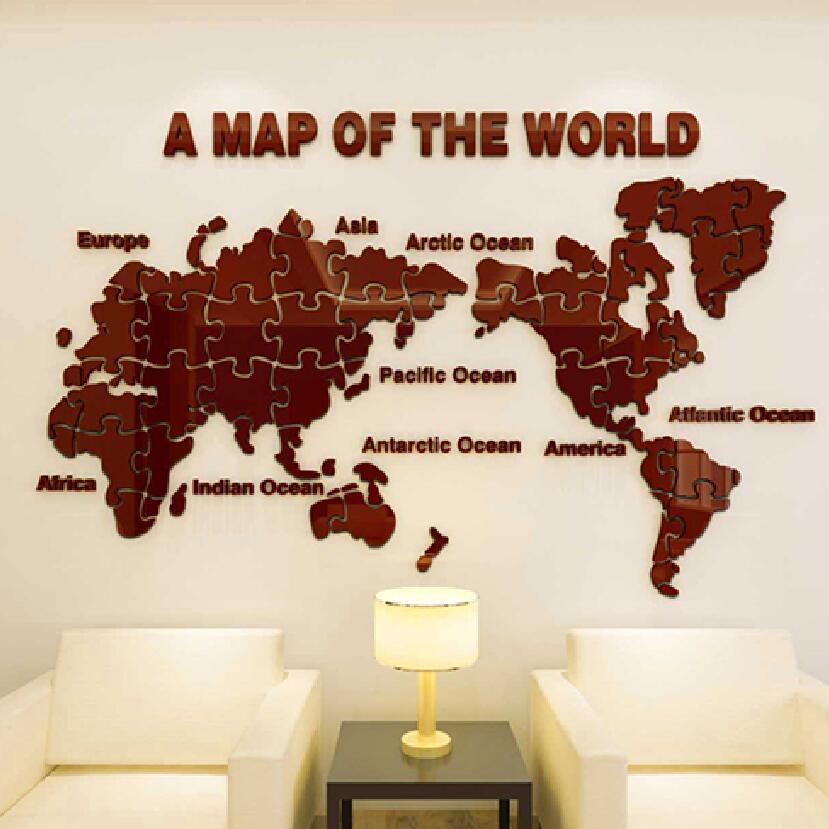 Nová mapa světa puzzle Trojrozměrná křišťálová akrylová zeď nálepka kancelář obývací pokoj pozadí 3D samolepky Domácí výzdoba