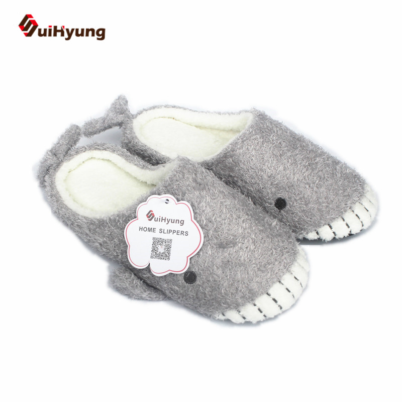 Suihyung New Design Women Thermal Home Slippers Indoor Shoes Plush Whale Baby Shape Floor Slippers Winter Warm Non-slip Slippers vanled 2017 new fashion spring summer autumn 5 colors home plush slippers women indoor floor flat shoes free shipping