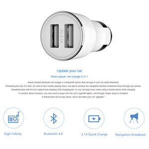 Image 2 - Xiaomi ROIDMI Car Charger Bluetooth 4.0 FM Transmitter 5V 2.1A Quick Car Charger For Android