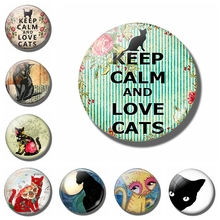 Keep Calm and Love Cats 30 MM Fridge Magnet Cat Lover Gift Glass Cabochon Magnetic Refrigerator Stickers Note Holder Home Decor