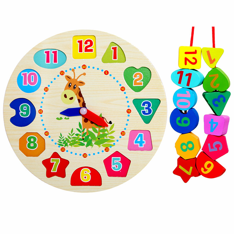 Free shippin Baby wooden font b toy b font Clock Blocks Cartoon Wooden Rabbit Clock for