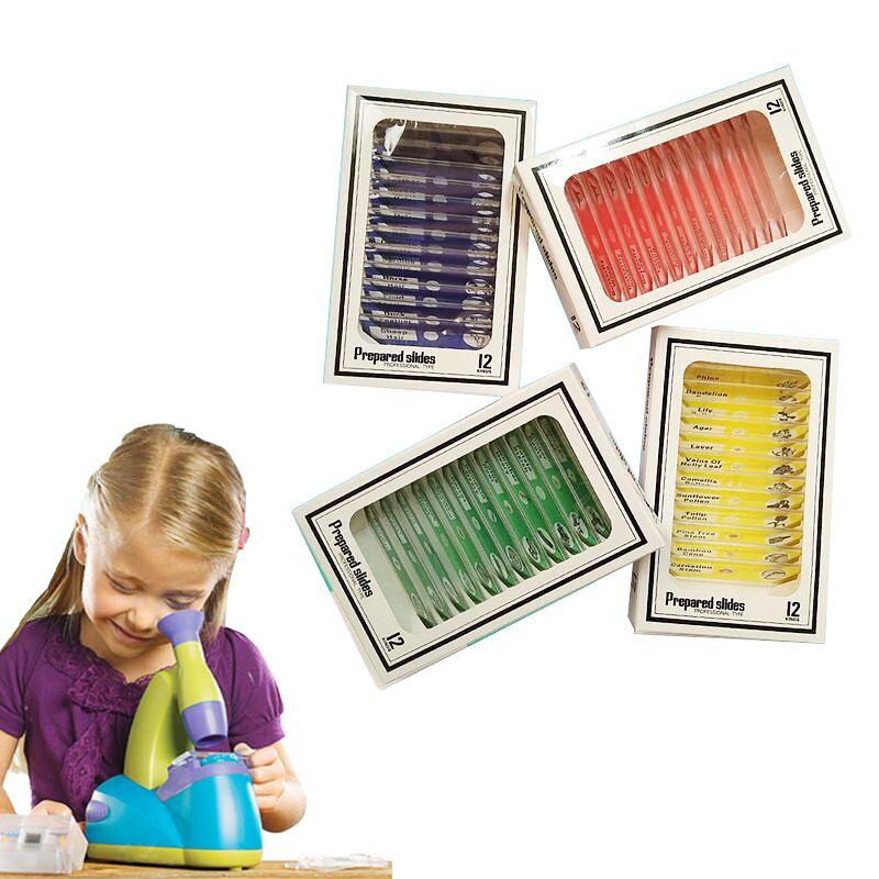 48 pz. Vetrini per microscopio in plastica preparati. Campione biologico con 4 scatole per bambini. Studente illuminare l'istruzione