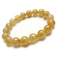12mm Genuine Natural Yellow Gold Hair Titanium Rutilated Quartz Crystal Round Loose Bead Stretch Charm Bracelet Women