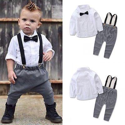 11076281c Newborn Toddler Baby Boy Clothes Kids Overalls Outfits Shirt+Bib ...