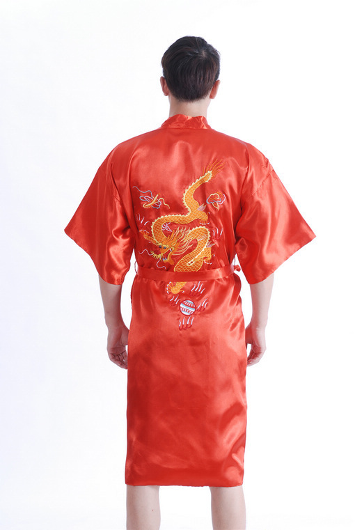 Chinese Tradition Style Man Bathrobe Kimono  Robe Gown Sleepwear With Dragon  Red  YF1308