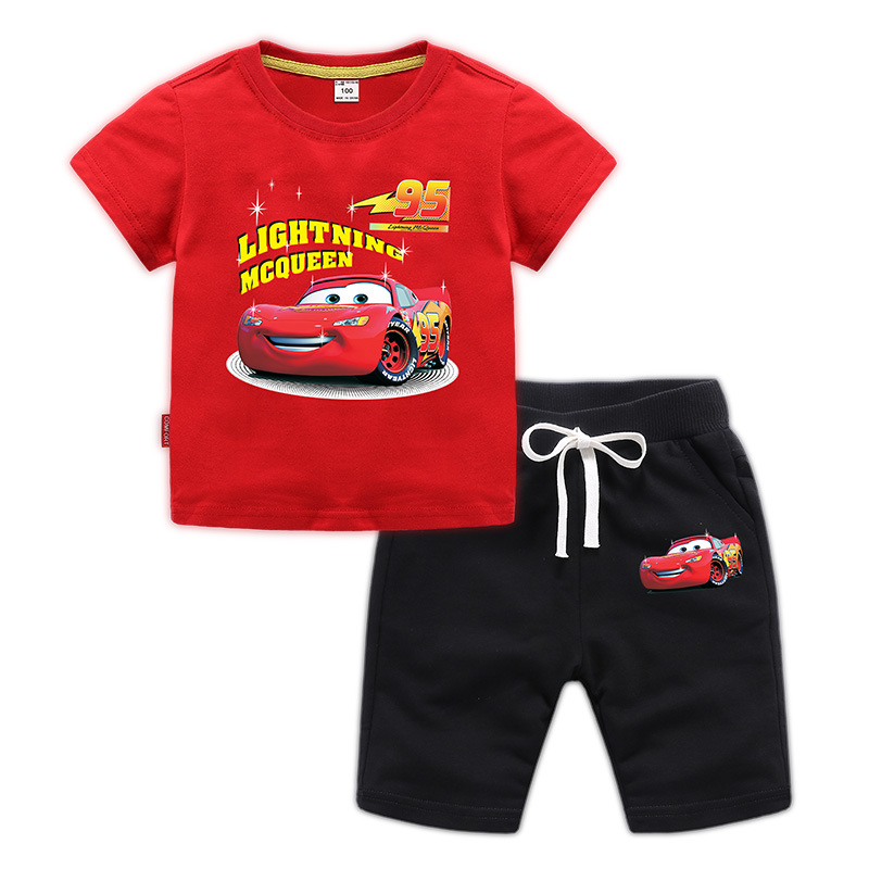 2019 Summer time Youngsters 2Pcs Set Cotton Cartoon Tremendous Racing Brief Sleeve T-Shirt Prime+Leisure Shorts Ladies Boys Clothes Units 1-9Y Clothes Units, Low-cost Clothes Units, 2019 Summer time Youngsters...
