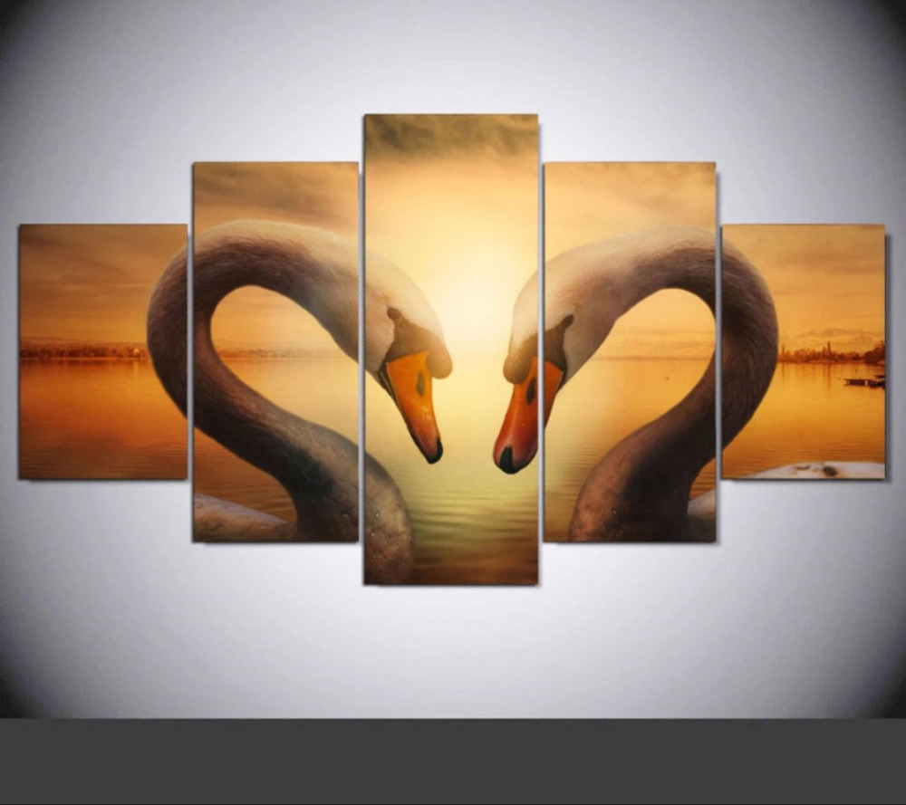 5 Pieces Mute Swans Wall Painting On Canvas Modular Home Decor Wall ...