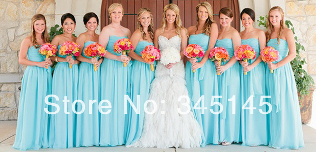 Most Cheap A Line Strapless Floor Length Chiffon   Bridesmaid     Dresses   Pleats Best Selling Blue   Bridesmaid   Gowns