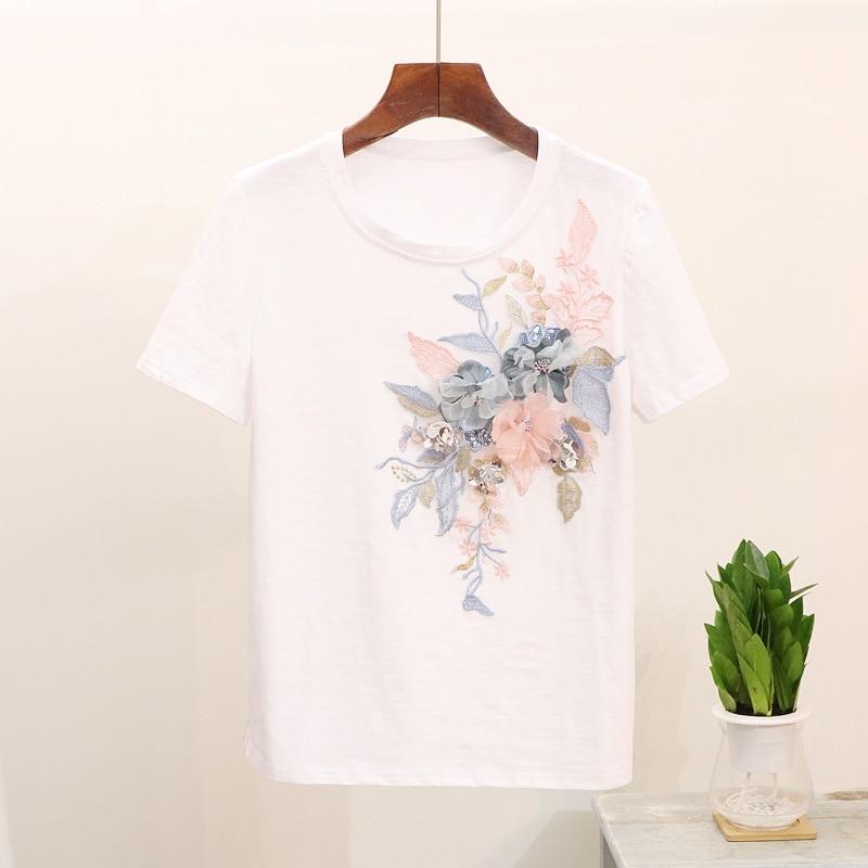 2019 été 2 pièces Jeans costumes Floral broderie coton manches courtes T Shirt hauts + neuf Jeans pantalon ensemble femmes deux pièces ensemble - 3