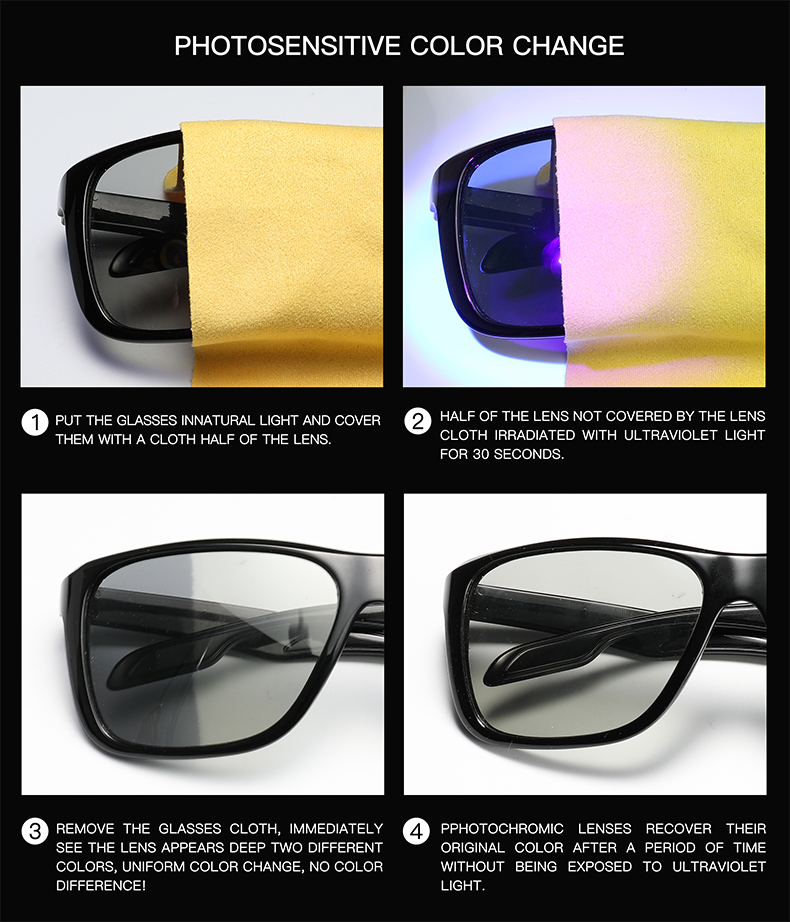 2019 Photochromic Sunglasses Men Polarized Chameleon Discoloration Sun Glasses For Men Fashion Square Driving Accessories P006 in Men 39 s Sunglasses from Apparel Accessories