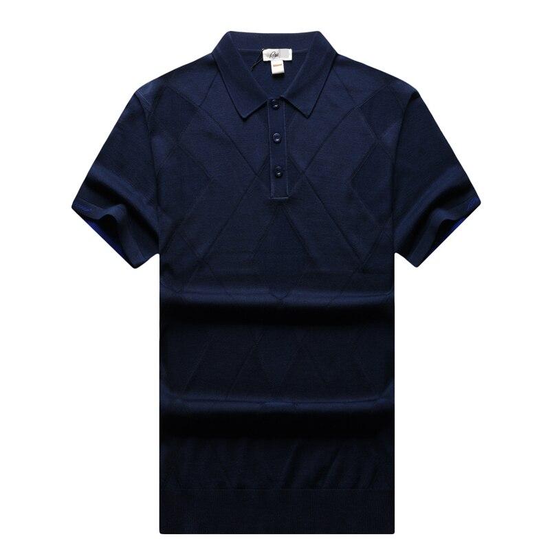 T shirt hommes 2017 nouveau style été col tourné mode élégant souffle tissu losange motif gentleman vêtements livraison gratuite