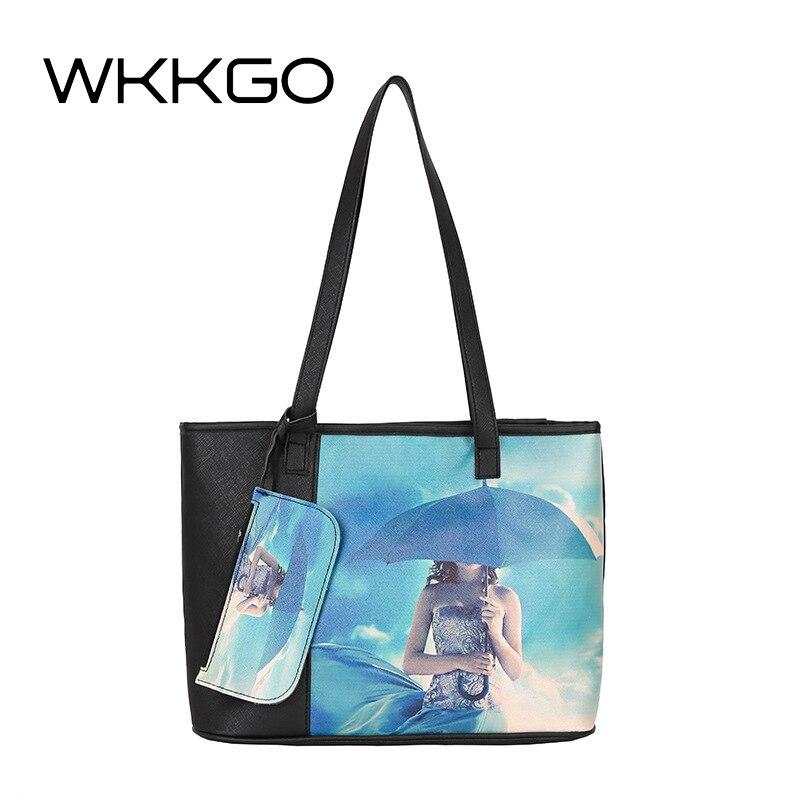 WKKGO Brand Large Capacity Tote Pack Casual Women Handbag Cartoon Printing Lady Clutch Beauty Bag Fashion Shoulder Messenger Bag