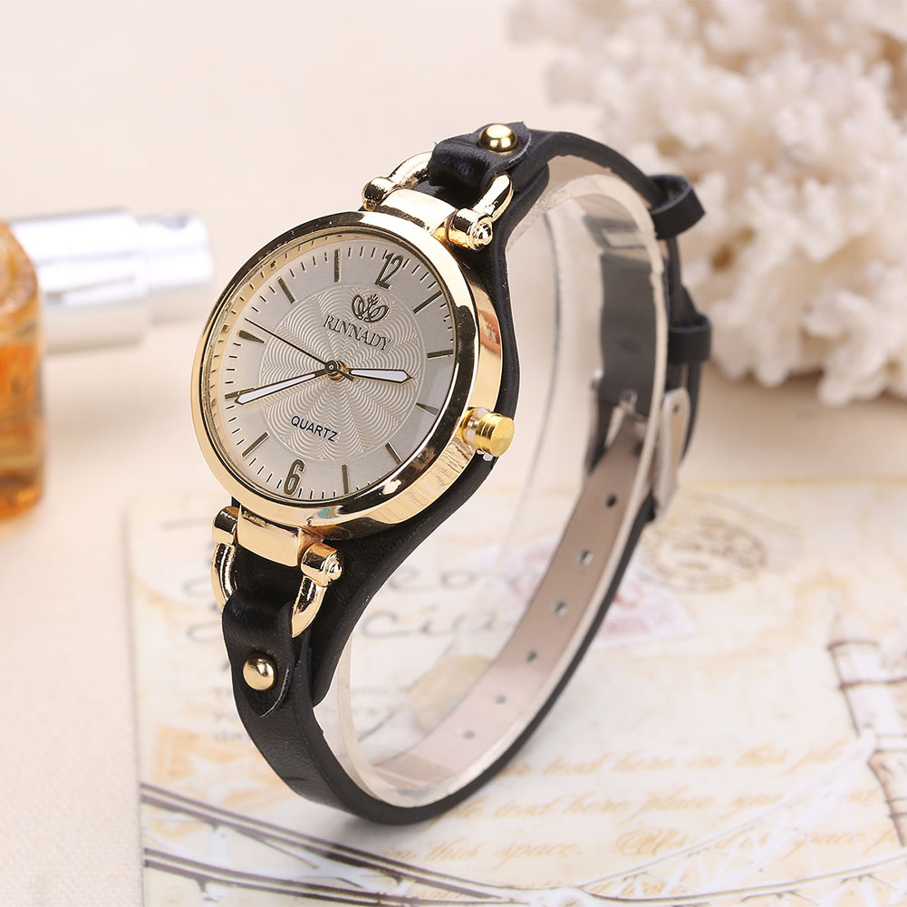 Women Casual Watches Round Dial Rivet PU Leather Strap Wristwatch Ladies Analog Quartz Watch Gift часы женские DOD886