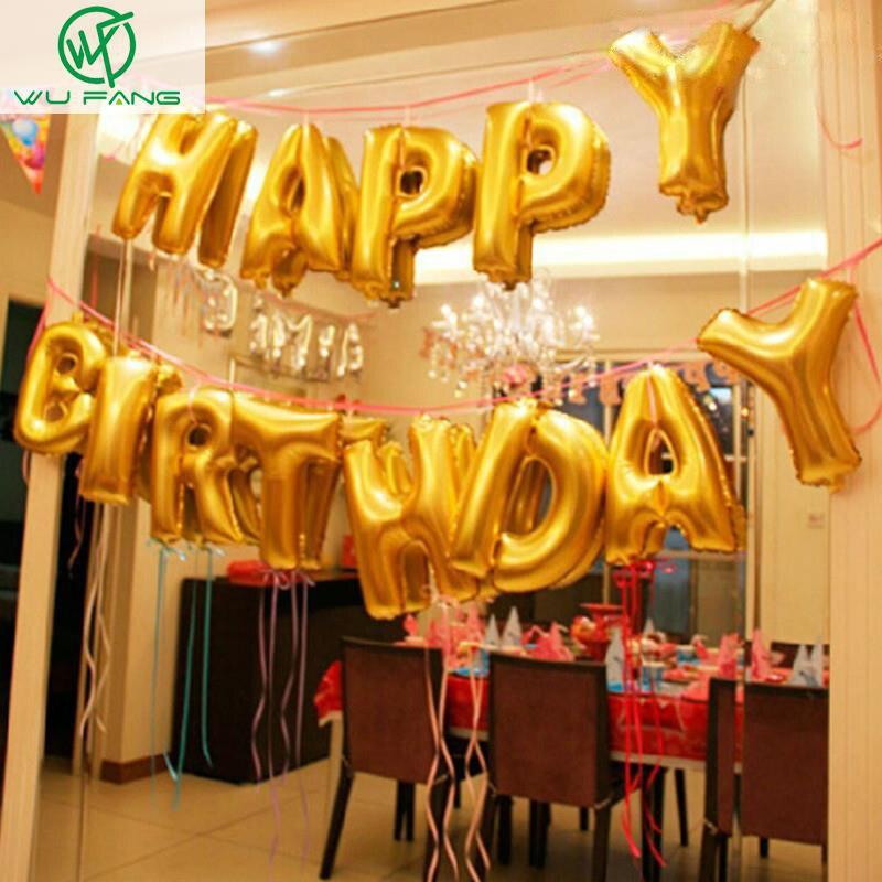 Oro lindo letras del alfabeto globos Feliz cumpleaños fiesta ...