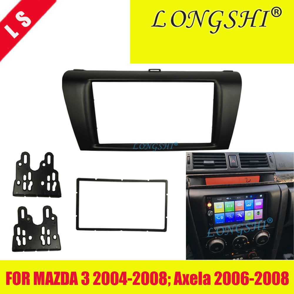 2 Din Car <font><b>Radio</b></font> Fascia Trim Kit for 2004-2009 <font><b>Mazda</b></font> <font><b>3</b></font> Axela Double Din Fascia Audio Fitting Adaptor Facia Panel Car Stereo , 2di image