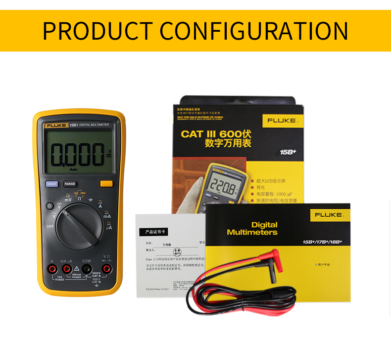 Fluke Digital Multimeter with Auto Range and 4000 Counts for AC DC Voltage and Current 4