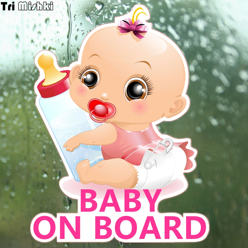Tri Mishki WCS092 13*17cm Baby On Board Car Sticker Funny Colorful Car Stickers Baby In Car Auto Automobile Decals